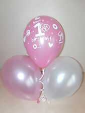 Girls Pink & White Printed 1st FIRST BIRTHDAY BALLOONS / Party Decorations x 12