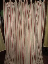 WAVERLY GENERAL STORE STRIPE RED CREAM (PAIR) SHORT TAB TOP PANELS 42 X 64