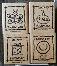 Stampin' Up KID CARDS Set 4 Wood Mounted Rubber Stamps Lot Birthday Christmas