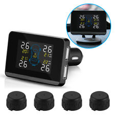 Car Wireless TPMS Tire Pressure LCD Monitoring System Dual USB +4 Sensors MA1322