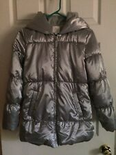 Girl's Hooded and Lined Puffer Jacket Silver Size XL/TG 14 2 Pockets NWOT