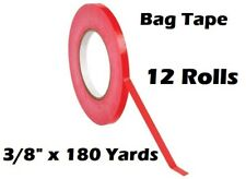 12 Roll Red Bag Sealing Poly Tape 3/8 inch x 180 yards Produce PVC Closure
