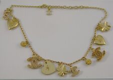 """CHANEL Gold Plated CC Charm Vintage Chain Necklace Choker 15"""" / 17"""""""