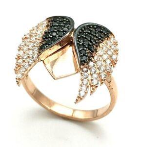 HANDMADE Women's Rose Gold 925 Sterling Silver Ring 8.25 Topaz Angel Wings