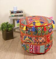 Indian Handmade Ottoman Patchwork Pouf Cover Ethnic Cotton Home Decor Foot Stool