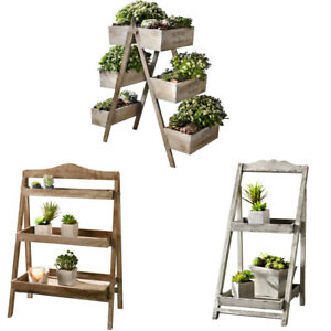 Foldable Special Decorative Wooden Plant Stand for Outdoor or Greenhouse