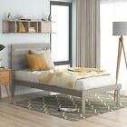 Twin Size Platform Bed with Headboard, Gray
