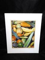 Shawn Dell Joyce Heirloom Squash Art Print Garden Gourds Signed Matted