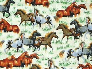 WILD HORSES FABRIC  ROUND EM UP  QUILTING TREASURE 100% COTTON CREAM BY THE YARD