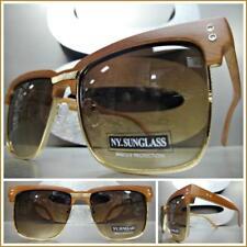 b6edb4d706 Mens Classy Elegant Luxury Retro Style SUN GLASSES Square Rose Gold Wooden  Frame
