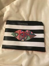 Sephora Black & White Striped Makeup Bag, 6 x 8 inches