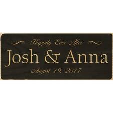 """Personalized Laser Engraved Sign, Wedding HAPPILY EVER AFTER, Black, 6"""" x 2.5"""""""