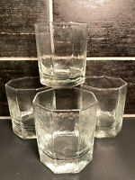 4 Vtg Libbey MCM Octagon Juice Lowball Glasses Tumblers Clear Patterned Glass