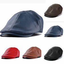 US Summer Plain Leather Newsboy Gatsby Cap Ivy Hat Golf Driver Mens Flat  Cabbie d97373f05d3
