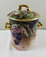 Antique Porcelain T&V France Condensed Milk Jar Container Blackberries - Limoges