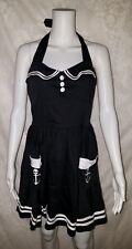 Hell Bunny Black White Nautical Sailor Skull Anchor Halter Dress XL Retro Pin Up