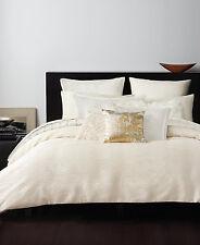 Donna Karan Rhythm Crepe Jacquard Full/Queen Duvet Cover Ivory Bedding H266