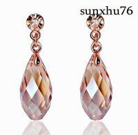 18k Rose Gold Teardrop Crystal Long Dangle Earrings Women Stud Earrings Retro