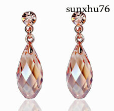 18k Rose Gold Teardrop Crystal Long Dangle Earrings Women Stud Earrings Retro
