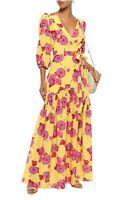 Borgo De Nor Salma Belted Floral-Print Crepe Yellow Pink Maxi Dress Size 12
