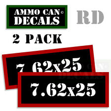 7.62 X 25 Ammo Decal Sticker bullet ARMY Gun safety Can Box Hunting 2 pack RD