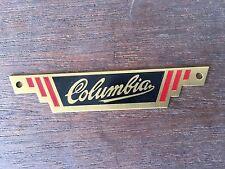 Columbia bicycle badge rear Logo Emblem Tag BRASS Metal  nameplate