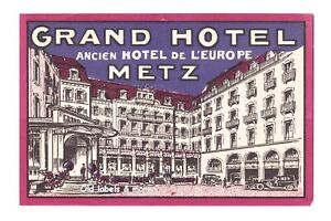 x3984 Grand Hotel METZ France Kofferaufkleber luggage label étiquette bagage
