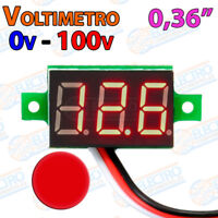 Mini Voltimetro 100v ROJO DC display 0,36 3 hilos digital voltmeter led