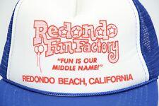 Vintage 1970s REDONDO FUN FACTORY Trucker Hat Cap Foam Front Mesh Snap Back Blue