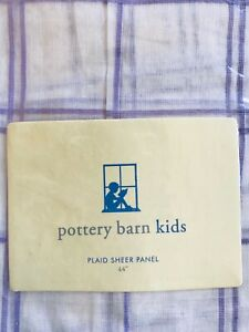 "POTTERY Barn Kids PBK Sheer Panel Plaid White with Purple 44"" x 44"" Cotton NEW"