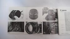 Canon FD Lenses Instruction Book-original pas une copie