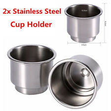 2x Universal Stainless Steel Cup Drink Bottle Holder Base For Auto Marine Camper