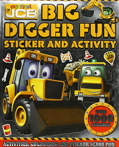 JCB Big Digger Fun Sticker, Colouring & Activity Kids Book Inc Stickers Gift NEW