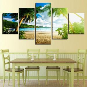 Blue Sky Beach Palm Trees Seas 5 piece HD Poster Wall Home Decor Canvas Print