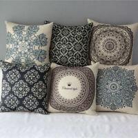 """18""""Boho Flower Cotton Square Pillow Case Throw Cushion Cover Home Sofa Car Decor"""