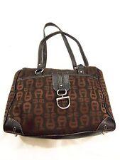 Etienne Aigner Black Initialed Fabric Handbag Shoulder Bag with Silver Hardware