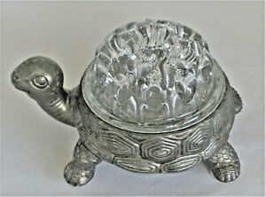 Vintage Metal Turtle Flower Frog with Domed Glass Flower Frog