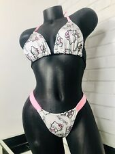 2PC EXOTIC DANCER STRIPPER OUTFIT PINK WHITE KITTY TOP THONG W/ RHINESTONES