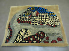 3' X 4' Vintage Hand Crafted Israel Wool Rug Carpet Wall Hanging Signed  Hebrew
