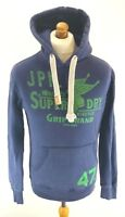 SUPERDRY Mens Hoodie Jumper S Small Blue Cotton