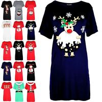 New Womens Ladies Christmas Reindeer Pudding Baggy Oversized T Shirt Mini Dress