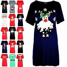 Womens Ladies Christmas Reindeer Xmas Pudding Baggy Oversized T Shirt Mini Dress
