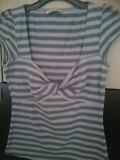 Cherokee size 10 grey /blue strips cap sleeve top