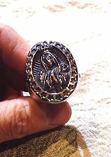 Men's Ring Large Silver Stainless Steel Mother Mary Crest Size 13