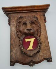 More details for antique victorian oak lion head hand carved masonic? freemason? number 7 plaque