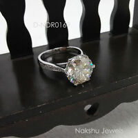 3Ct Round Cut Moissanite Diamond Solitaire Engagement Ring 925 Sterling Silver