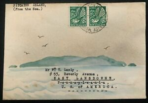 1935 Pitcairn Island Karl Lewis Cover To Lansdowne Pa USA Barren Island Cachet