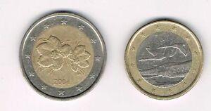 Finlande 2004, lot de 2 pieces coins : 1 euro, 2 euros,