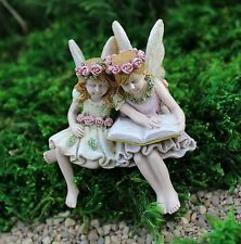 Miniature  Fairies Paige & Phoebe Reading a Book  # 99  Fairy Garden Dollhouse