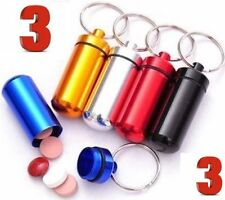 * 3 WATERPROOF ALUMINUM PILL BOTTLE CONTAINER KEY CHAIN HOLDER MEDICINE VITAMINS